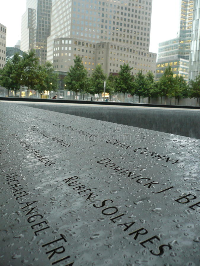 Nine Eleven Memorial. The Nine Eleven Memorial in New York City after it rained stock photo