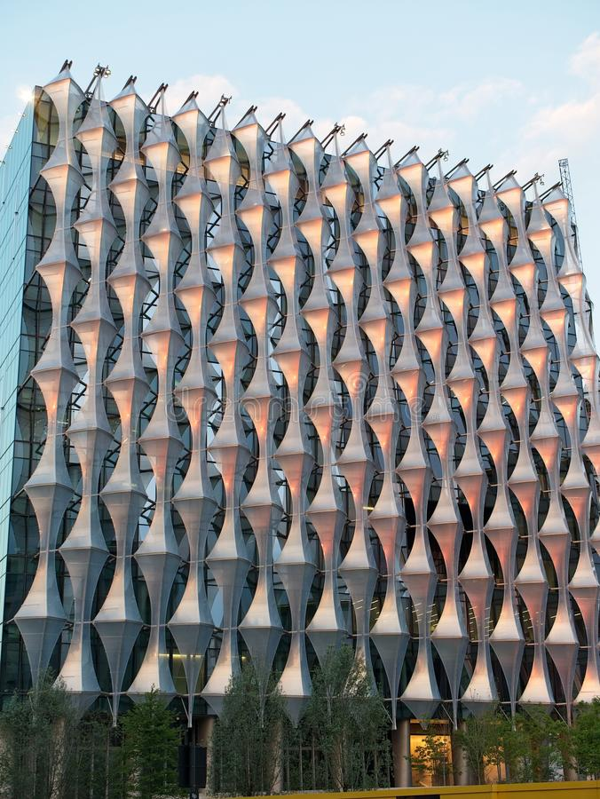 Facade of The United States Embassy Building in London, UK. Nine Elms, London, UK - June 03 2018: Facade of The United States Embassy Building royalty free stock images