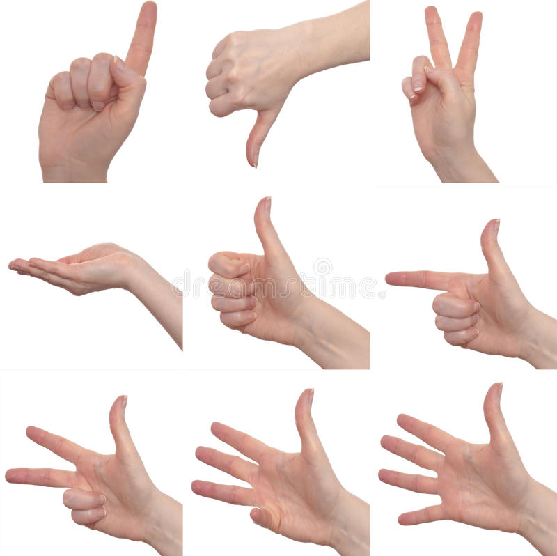 Nine female hand signs royalty free stock photography