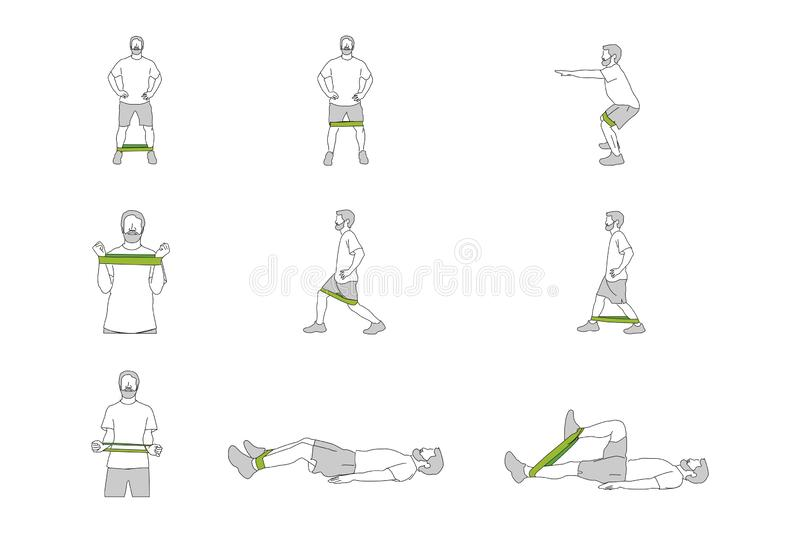 Different figures of person training with band. Nine figures of person training with elastic bands in different positions vector illustration
