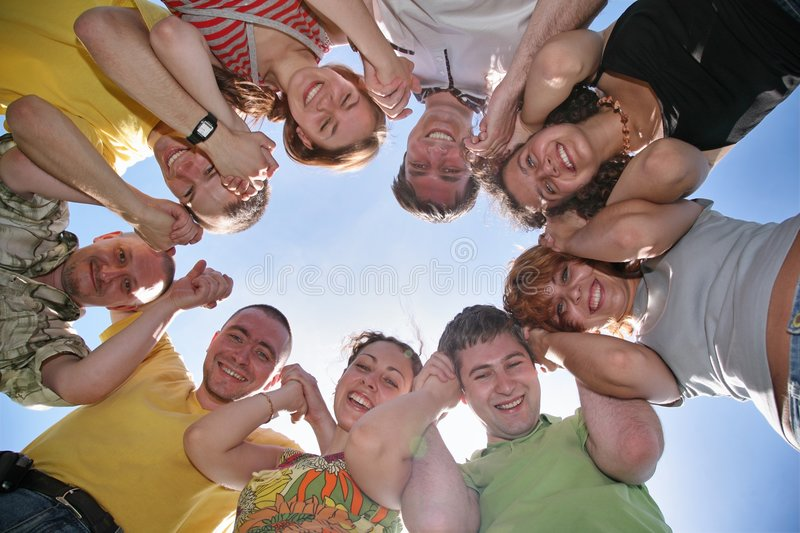 Nine friends. Beside on a background of the sky royalty free stock photo