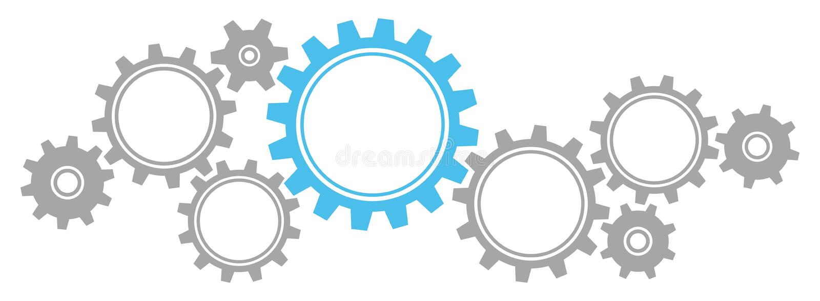Gears Border Graphics Grey And Blue. Nine Gears In Color Grey And Blue Sticking Into Each Other As A Group royalty free illustration