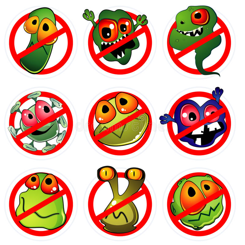 Nine germs and prohibition signs