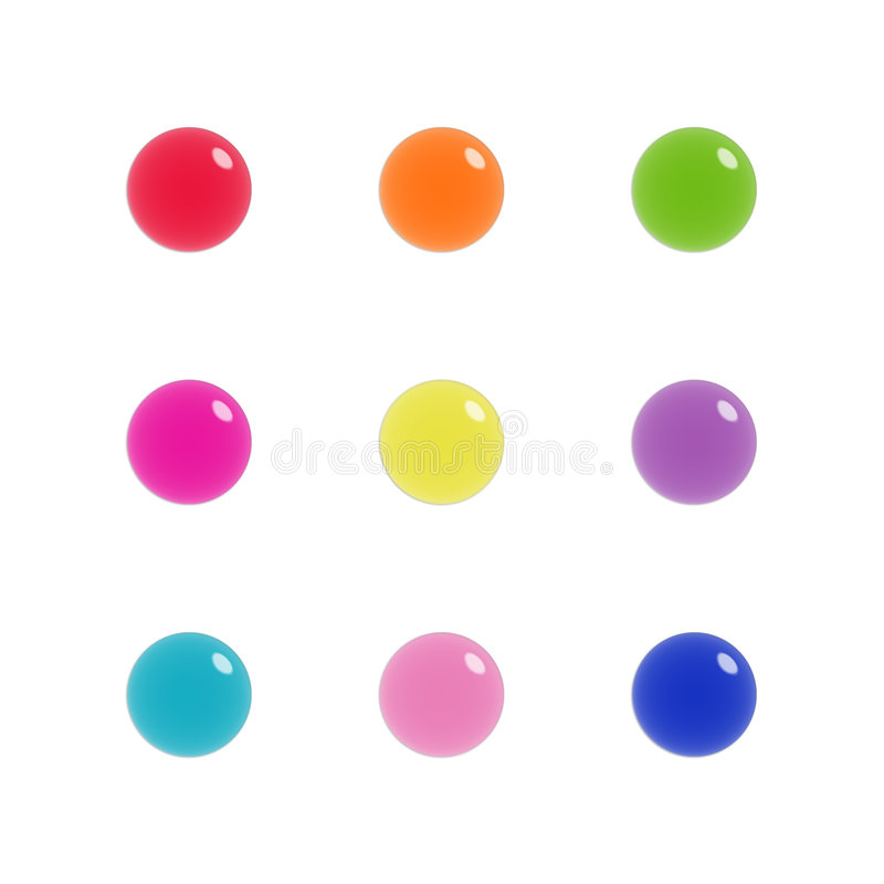 Download Nine Glass Orbs Of Glass In Bright Colours Stock Illustration - Illustration: 4656029