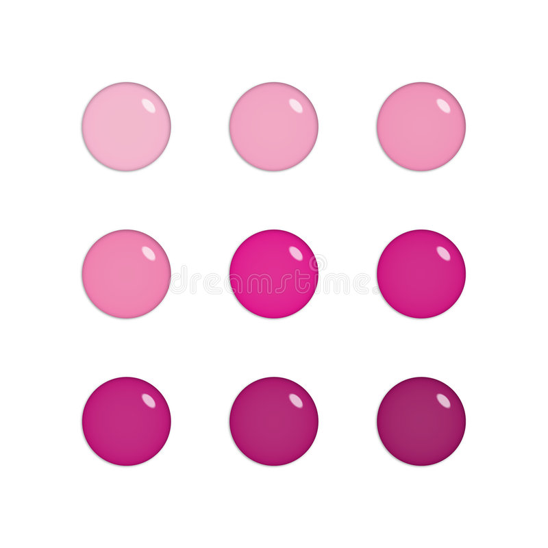 Nine glass orbs in pink and purple vector illustration