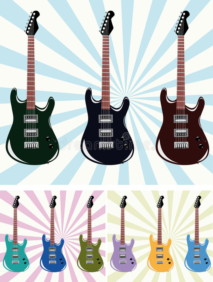 Download Nine guitars stock vector. Image of illustration, creative - 12927939