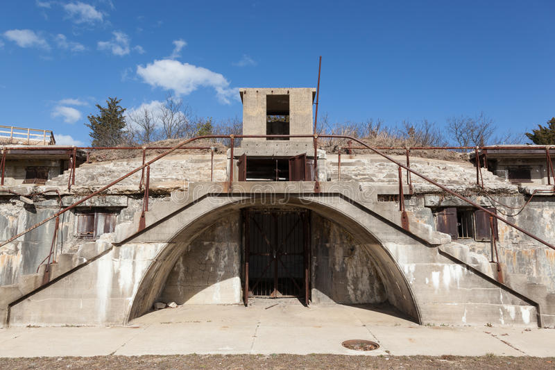 Nine Gun Battery. Architectural details of the Nine Gun Battery at Fort Hancock at Sandy Hook Gateway National Recreation Area in New Jersey stock images