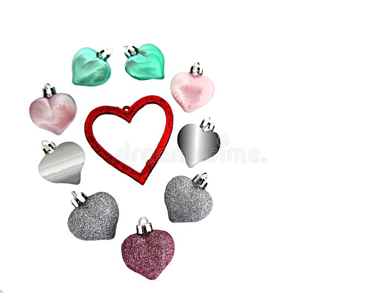 Nine hearts surrounding a big red heart to say, I love you, on Valentines day, isolated on a white background royalty free stock photo