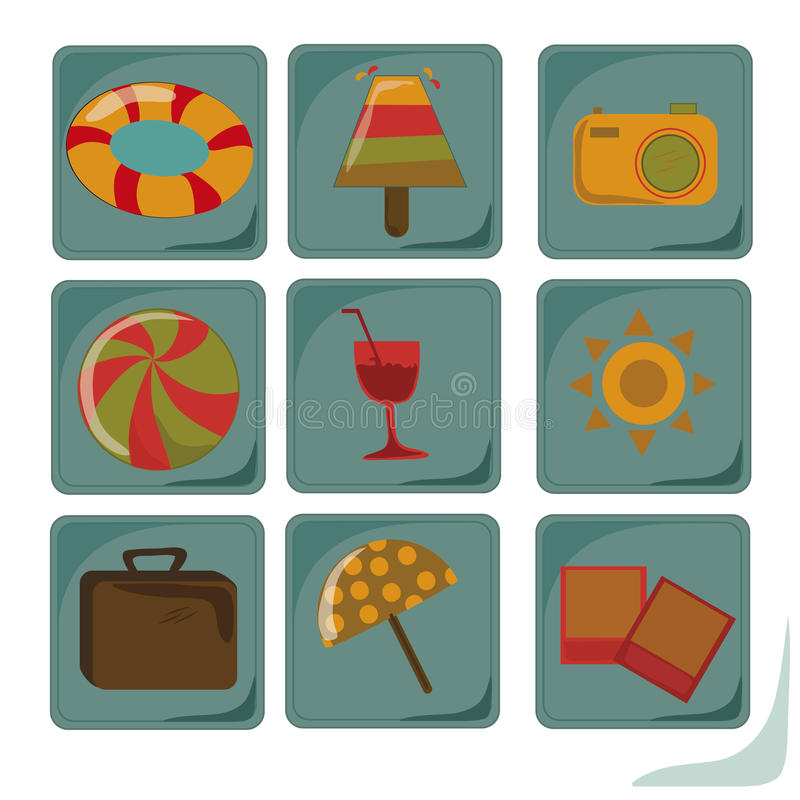 Download Nine Icons Of Summer Stock Photography - Image: 32874712