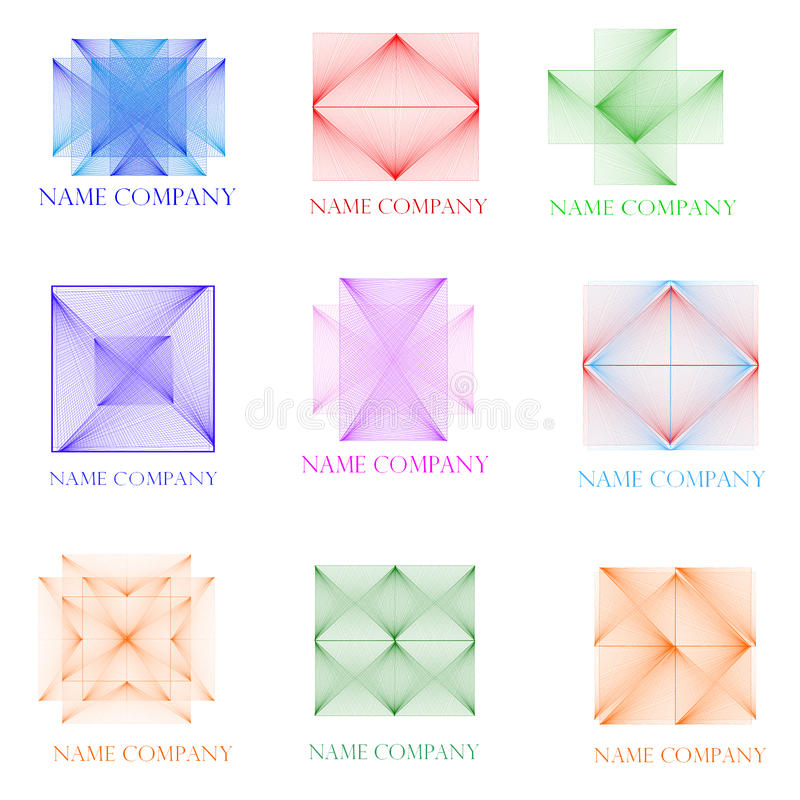 Nine icons three-dimensional stock photography