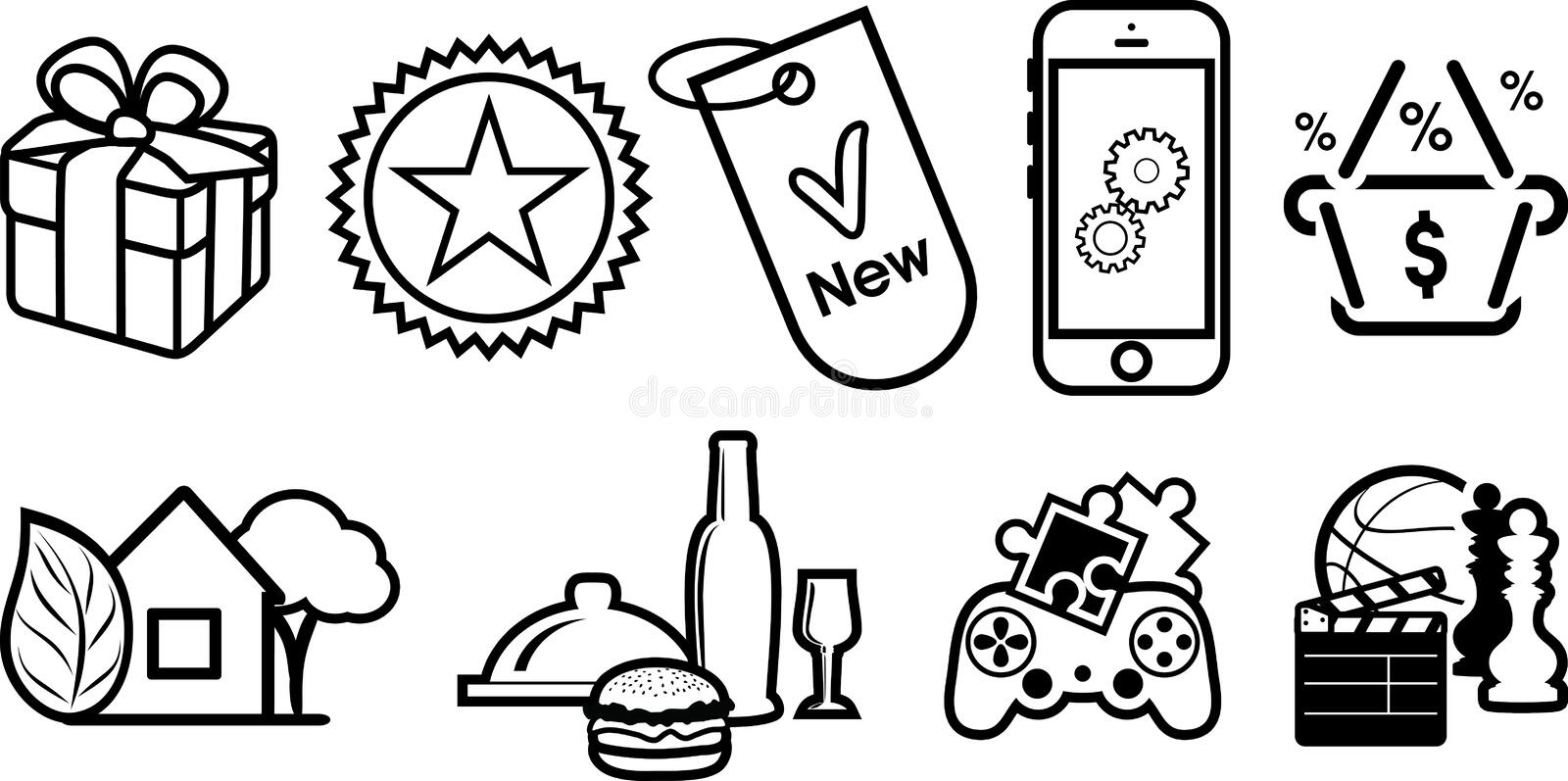 Nine icons for web site stock photo