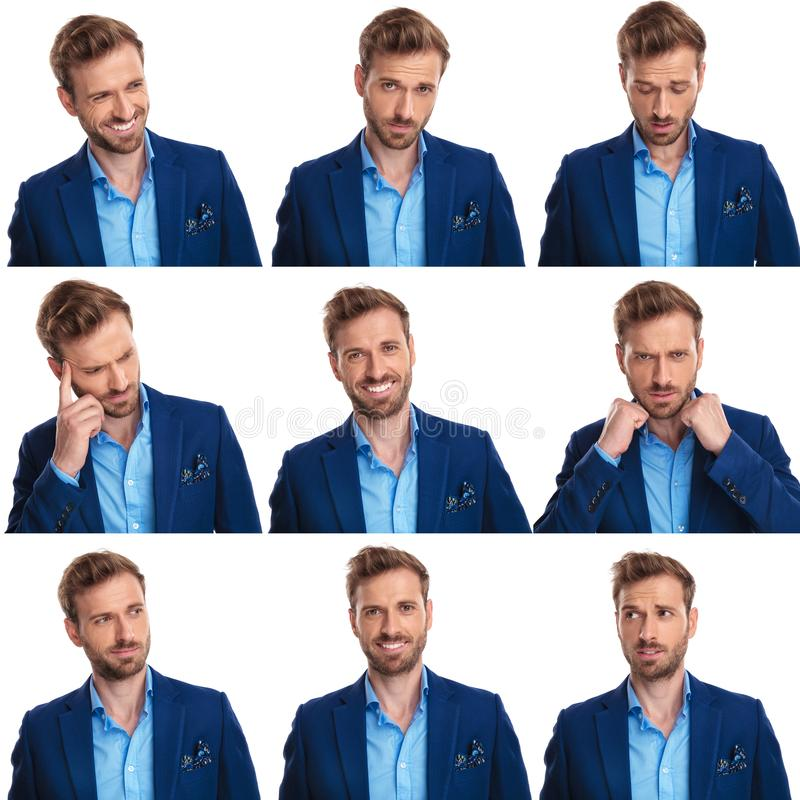 Nine images collage of a young elegant man`s faces. On white background stock image