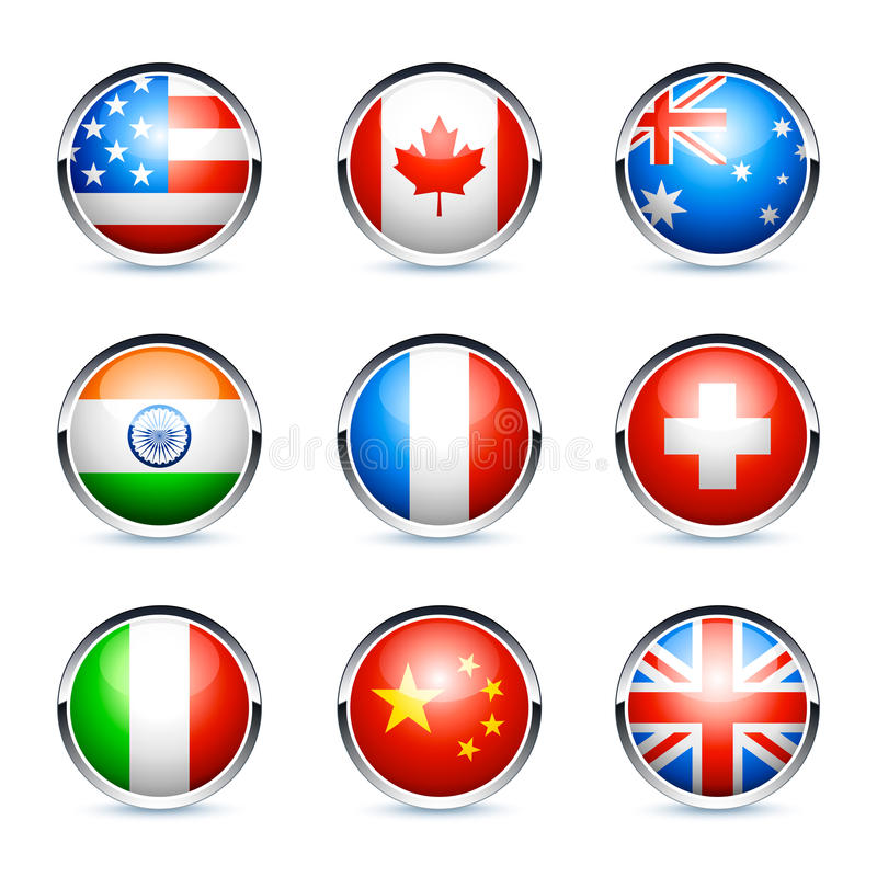 Nine International Flag Icons stock illustration