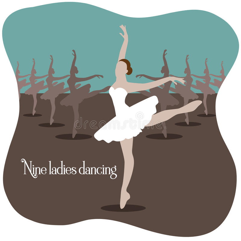 Nine ladies dancing vector illustration stock illustration