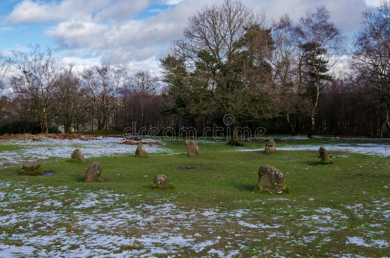 Nine Ladies Stome Circle on Stanton Moor. The Nine Ladies stone circle of Stanton moor, Derbyshire. A mysterious and historic site, possibly of pagan or druid royalty free stock image