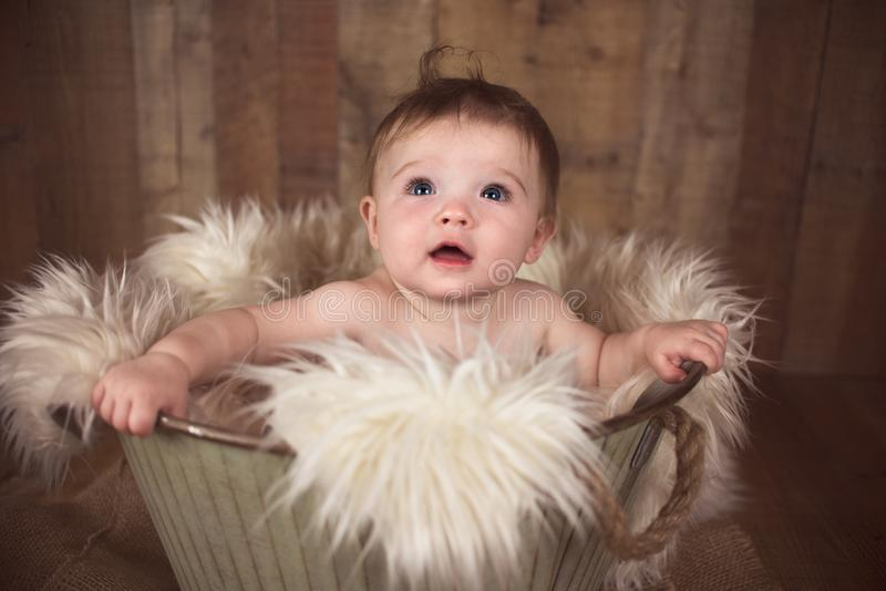 Nine Month Old Baby Girl in a vintage bucket. Nine Month Old Baby Girl Sitting in a Vintage Bucket on wood background with fur royalty free stock photography