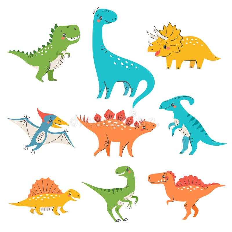 Nine colorful cute dinosaurs. Set of cute colorful dinosaurs for kids design isolated on white background royalty free illustration