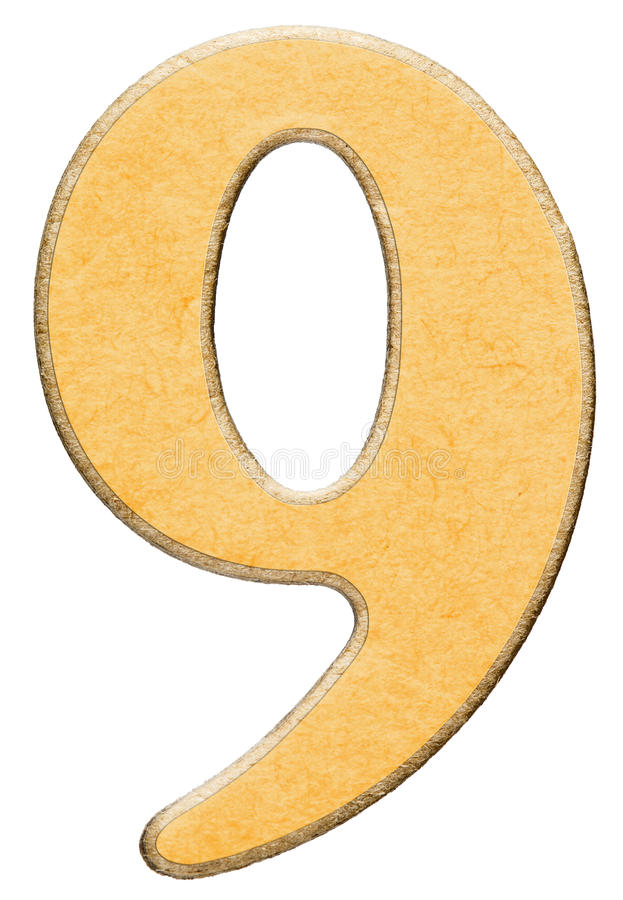 9, nine, numeral of wood combined with yellow insert, isolated o royalty free stock photos