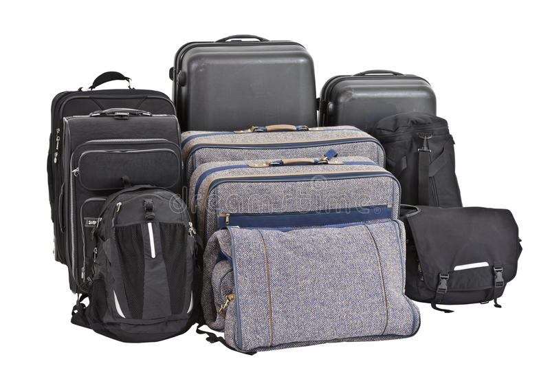 Nine Old Bags And Suitcases Ready For Travel. Stock Image