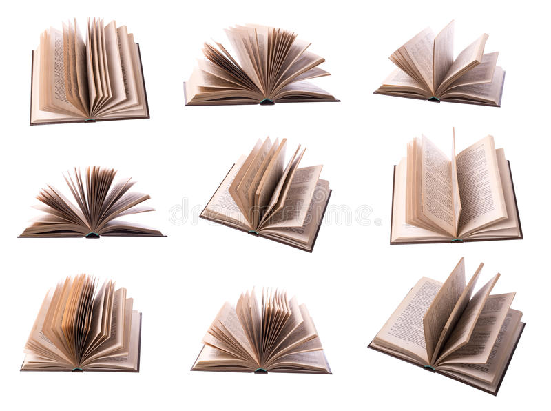 Nine open book. Isolated on white royalty free stock photo