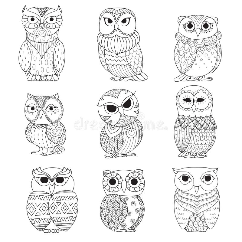 Download Nine Owls Design For Coloring Book Tattoo Shirt And Other Decoration Stock