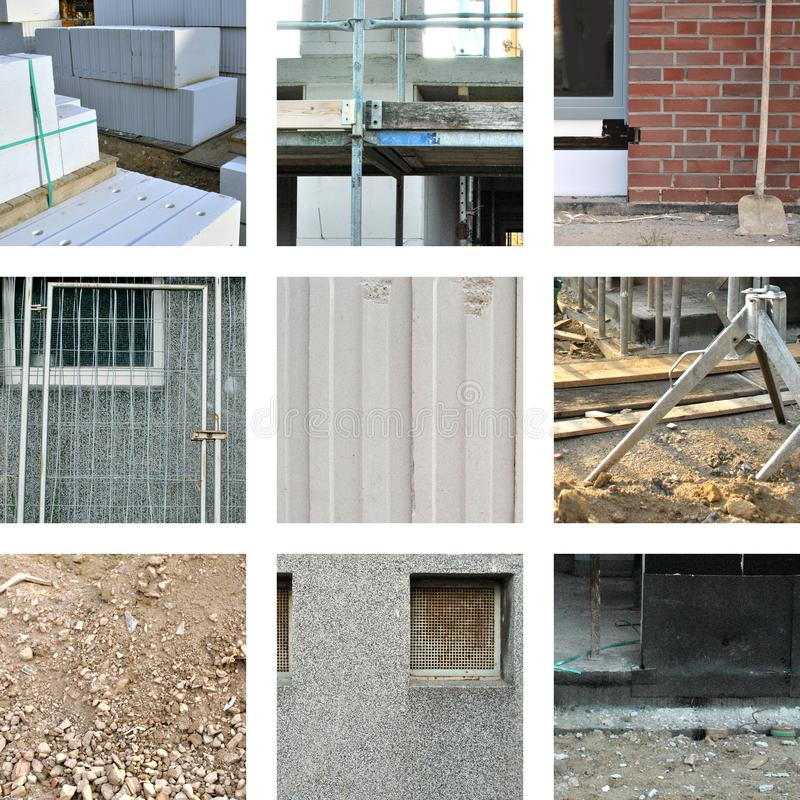Nine pictures with different building materials. On the construction site stock photography
