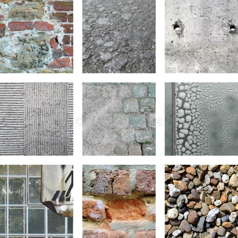 Nine pictures of stones and weathered walls. Nine pictures of old stones and weathered walls royalty free stock photography