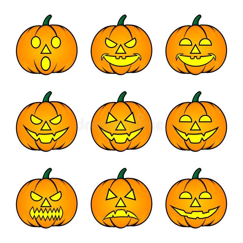 Nine Pumpkin Emoticons mit Yellow Eye for Happy Halloween Party vektor abbildung