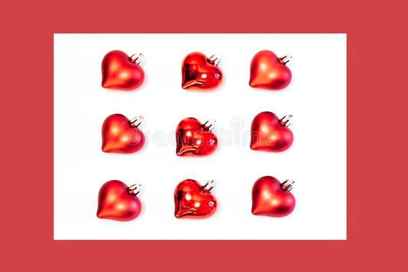 Fletley of red hearts Christmas decorations royalty free stock images