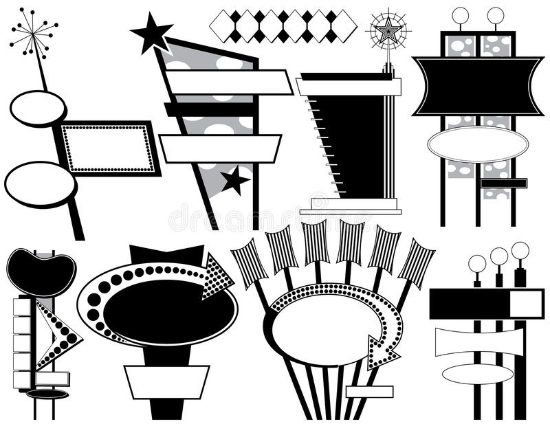 Nine Retro Advertising Signs vector illustration