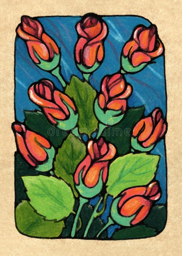 Download Nine of Roses stock illustration. Illustration of tarot - 1513746