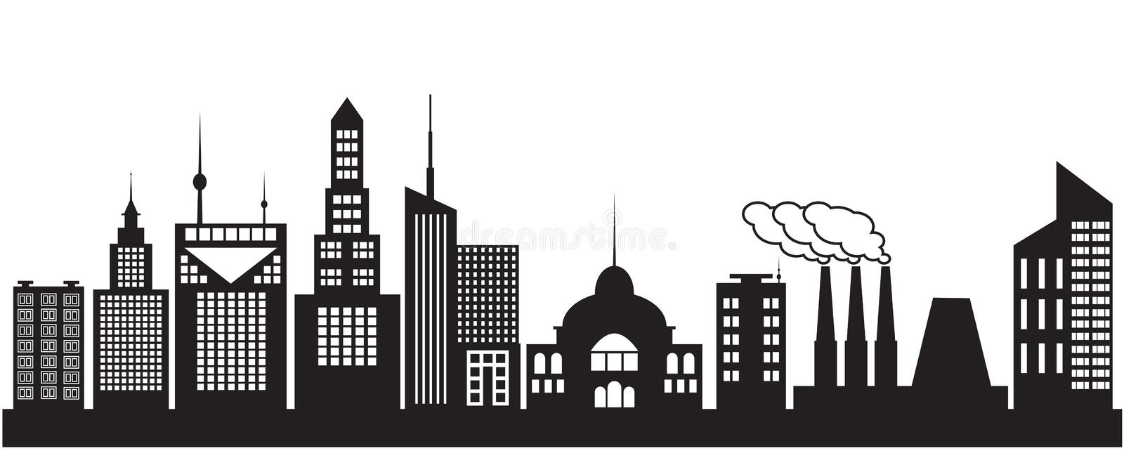 Nine silhouettes of city buildings vector illustration