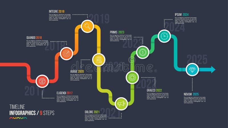 Nine steps timeline or milestone infographic chart. stock illustration