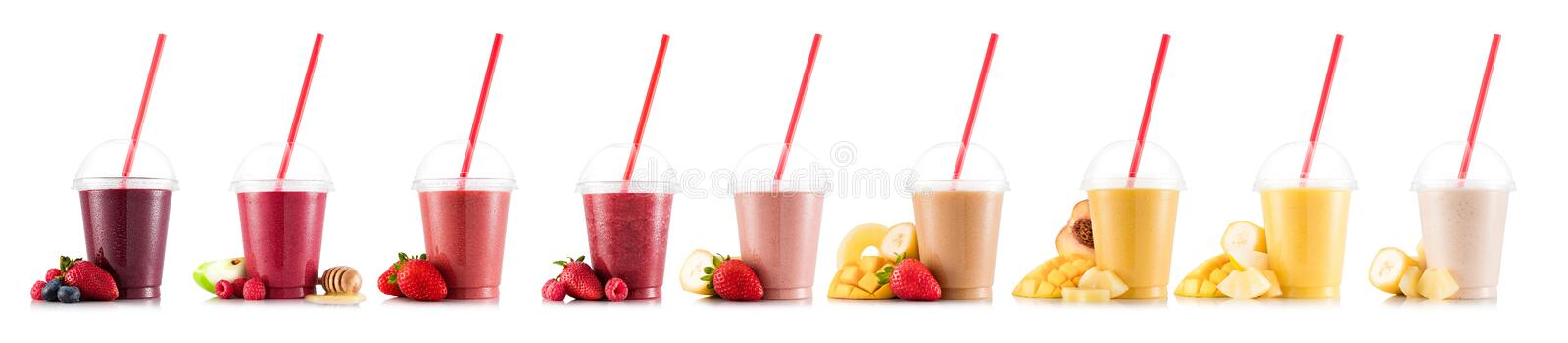 Nine tastes of smoothie in plastic cup royalty free stock photos
