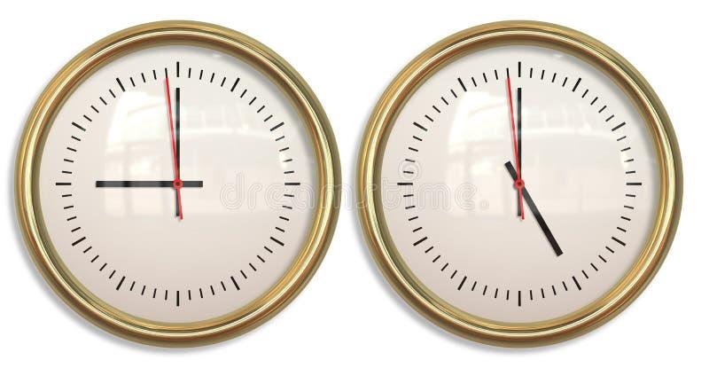 Nine to five two clocks vector illustration