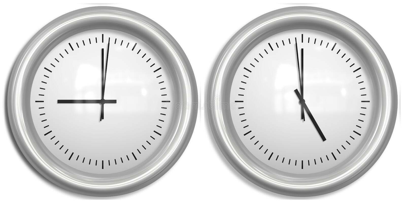 Nine to five two clocks. Two clocks showing nine to five office hours royalty free illustration