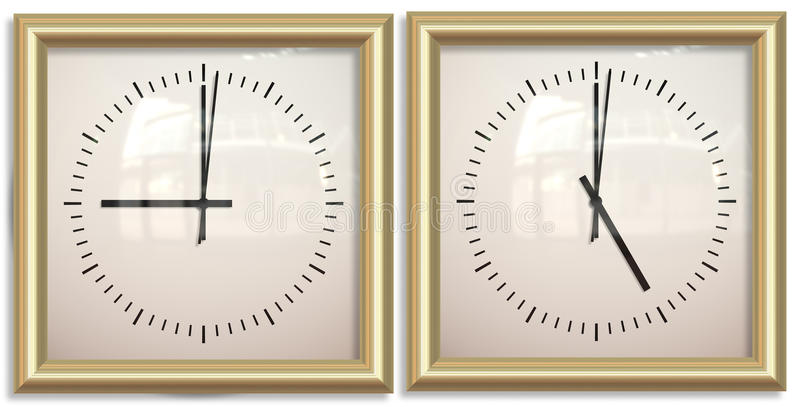 Nine to five two clocks royalty free illustration