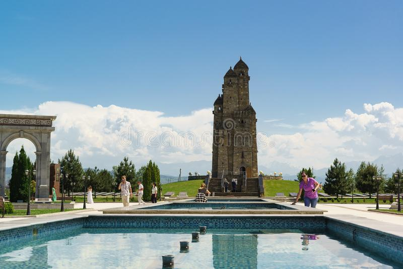 Nine Towers memorial — a memorial building in the form of 9 Ingush towers gathered together, dedicated to the victims of royalty free stock image