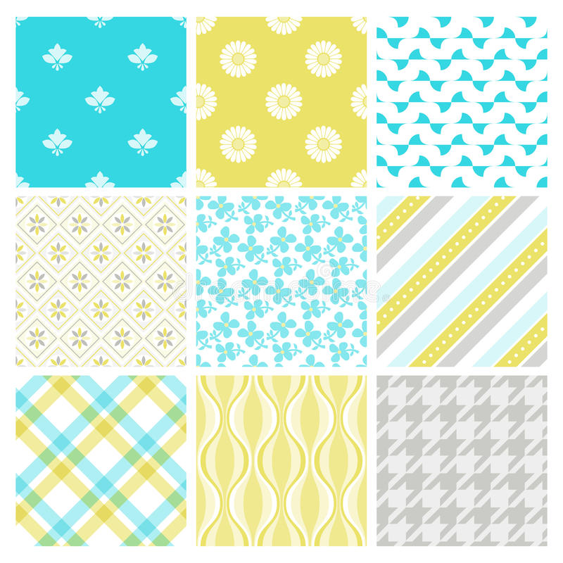 Download Nine Trendy Textile Or Wallpaper Pattern Stock Vector - Illustration of beautiful, antique: 18913086