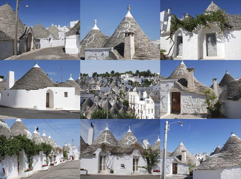 Nine Trulli. A collage of nine photographs of the traditional trulli houses Alberobello in Puglia, southern Italy. This area is a protected UNESCO World Heritage stock photos