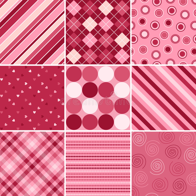 Nine Valentine Patterns. A set of nine background patterns for Valentines day vector illustration