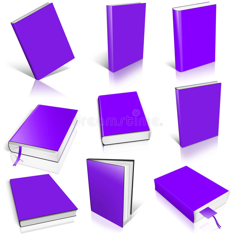 Nine violet empty book template. On white background royalty free illustration