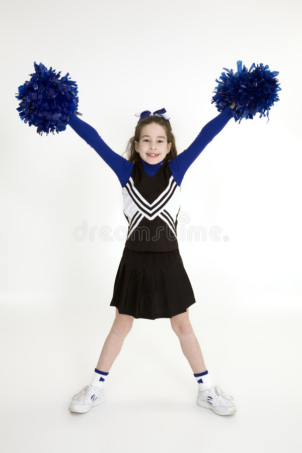 Free Nine Year Old Caucasian Girl Dressed In A Blue Cheerleader Outfit Royalty Free Stock Photos - 1974698