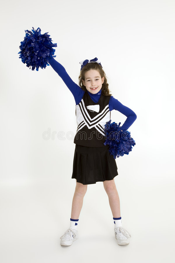 Free Nine Year Old Caucasian Girl Dressed In A Blue Cheerleader Outfit Royalty Free Stock Image - 1974746