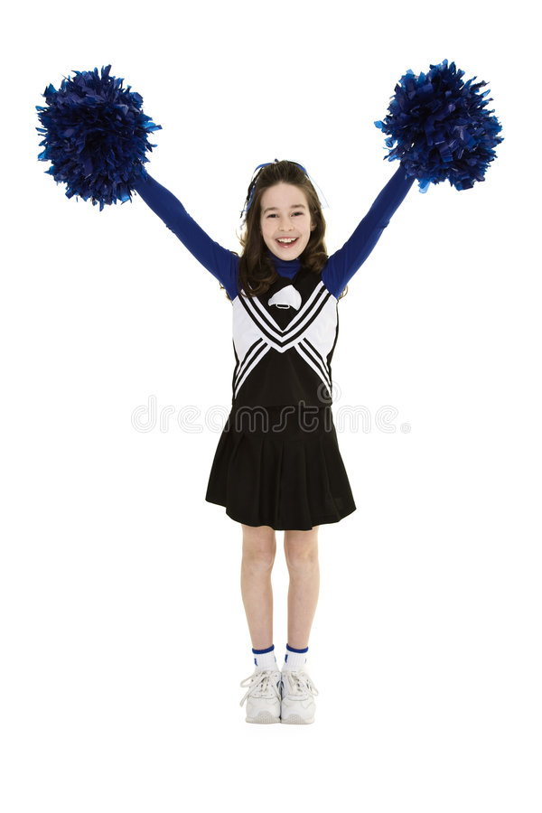 Free Nine Year Old Caucasian Girl Dressed In A Blue Cheerleader Outfit Stock Image - 5191621