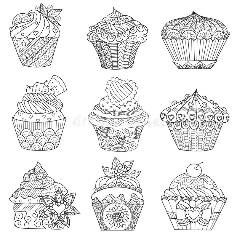 Nine zendoodle design of cupcakes isolated on white background design for both kids and adult coloring book page. Vector illustrat. Ion vector illustration