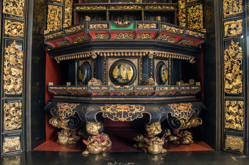 In nineteenth Century, Chaozhou used precious wood carvings of art to worship ancestors and mythological figures. Chen Jia CI Tang and Chen Academy said. Built stock images