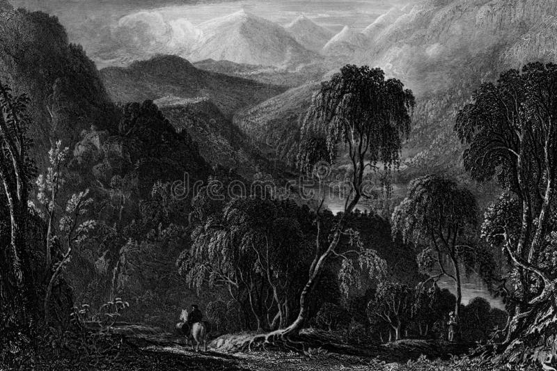 Old Illustration of Historic Landscape of Central Scotland. Nineteenth century engraving of Killiecrankie, Perth and Kinross, Scotland, site of an historic vector illustration