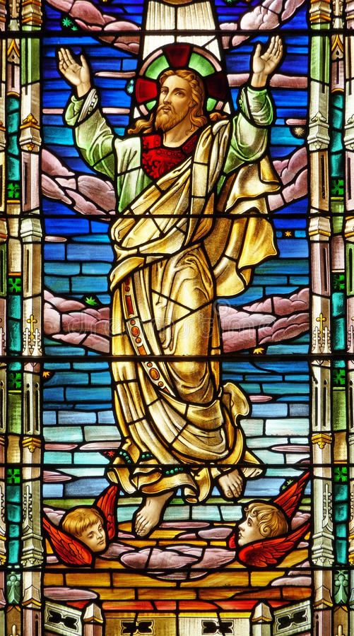 Nineteenth century stained glass window Jesus royalty free stock images