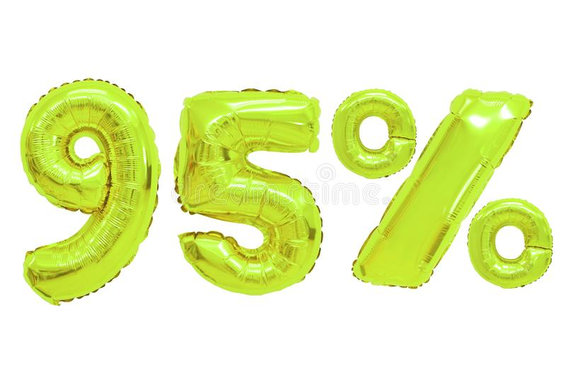 Ninety five percent from balloons lime color stock image